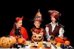 Diabo, bruxa e pirata pequenos Imagens de Stock Royalty Free