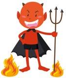 Diabo com os chifres que guardam o tridente Imagens de Stock Royalty Free
