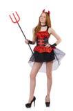 Diabo da mulher com tridente Foto de Stock Royalty Free