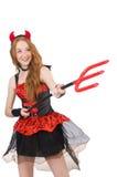 Diabo da mulher com tridente Imagem de Stock Royalty Free