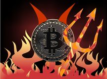 Diabo de Bitcoin ilustração royalty free