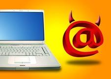 Diabo do portátil e do email Fotografia de Stock