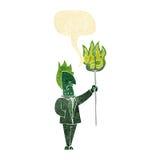 diabo dos desenhos animados com o forcado com bolha do discurso Imagens de Stock Royalty Free