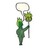 diabo dos desenhos animados com o forcado com bolha do discurso Imagem de Stock Royalty Free