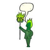 diabo dos desenhos animados com o forcado com bolha do discurso Fotografia de Stock