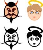 Diabo e Angel Faces ilustração royalty free