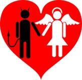 Diabo e anjo. É amor. ilustração stock