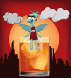 Diabo e um vidro do uísque Fotografia de Stock Royalty Free