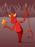 Diabo em desenhos animados do inferno Fotos de Stock Royalty Free