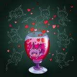 diabo em um vidro do vinho Fotografia de Stock