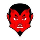 Diabo mau Irritado por Satã Demônio vermelho furioso Lucifer irritado ilustração do vetor