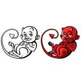 Diabo ou travesso pequeno dos desenhos animados - vector a ilustração Foto de Stock Royalty Free