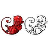 Diabo ou travesso pequeno dos desenhos animados - vector a ilustração Imagens de Stock Royalty Free