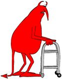 Diabo vermelho idoso que usa um caminhante ilustração stock