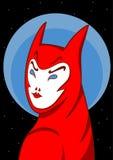 Diabola的例证与蓝眼睛和红色嘴唇的在回顾在他的肩膀的雨衣 免版税库存图片