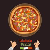 Diabola-Pizza-Farbflache Ikone Stockbilder