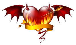 Diabolical heart. Fiery heart with diabolical elements with arrow of fire and sash Stock Images