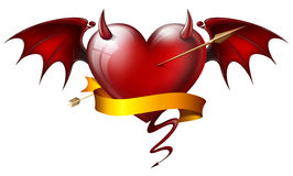 Diabolical heart. Red heart with diabolical elements with arrow and sash Stock Image