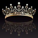 diadème Or de luxe avec le diadème féminin de perles avec la réflexion illustration de vecteur