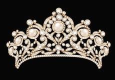 diadème femelle de mariage, couronne, or de diadème avec illustration libre de droits