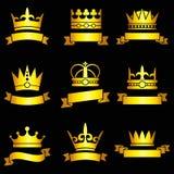 Diadèmes de roi, couronnes d'or et ensemble médiévaux de vecteur de bannière de ruban illustration de vecteur
