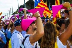 Diada av Catalunya, i Barcelona, Spanien på September 11th 2015 Fotografering för Bildbyråer