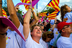 Diada av Catalunya, i Barcelona, Spanien på September 11th 2015 Royaltyfria Bilder