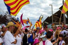 Diada av Catalunya, i Barcelona, Spanien på September 11th 2015 Arkivfoton