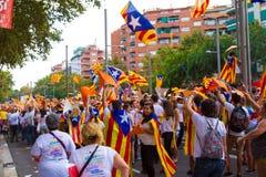 Diada av Catalunya, i Barcelona, Spanien på September 11th 2015 Royaltyfri Fotografi