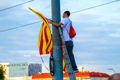 Diada av Catalunya, i Barcelona, Spanien på September 11th 2015 Arkivbilder