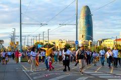 Diada av Catalunya, i Barcelona, Spanien på September 11th 2015 Arkivfoto