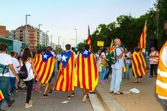 Diada av Catalunya, i Barcelona, Spanien på September 11th 2015 Royaltyfri Foto