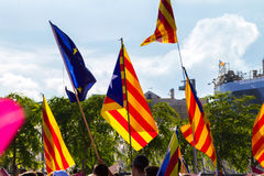 Diada Catalunya, в Барселоне, Испания 11-ого сентября 2015 Стоковое Фото