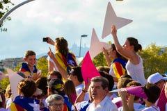 Diada Catalunya, в Барселоне, Испания 11-ого сентября 2015 Стоковые Фотографии RF