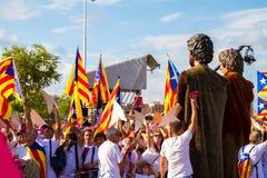 Diada Catalunya, в Барселоне, Испания 11-ого сентября 2015 Стоковые Изображения RF