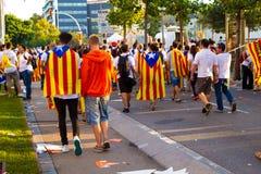 Diada Catalunya, в Барселоне, Испания 11-ого сентября 2015 Стоковая Фотография