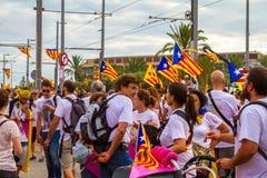 Diada Catalunya, в Барселоне, Испания 11-ого сентября 2015 Стоковое фото RF