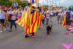 Diada Catalunya, в Барселоне, Испания 11-ого сентября 2015 Стоковая Фотография RF