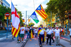Diada Catalunya, в Барселоне, Испания 11-ого сентября 2015 Стоковое Изображение RF