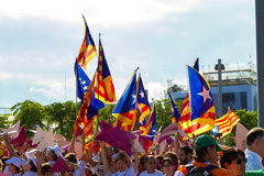 Diada of Catalunya, in Barcelona, Spain on September 11th 2015. Stock Photography