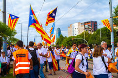 Diada of Catalunya, in Barcelona, Spain on September 11th 2015. Royalty Free Stock Image