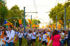 Diada of Catalunya, in Barcelona, Spain on September 11th 2015. Stock Image