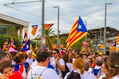 Diada de Catalunya, à Barcelone, l'Espagne le 11 septembre 2015 Images stock