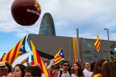 Diada de Catalunya, em Barcelona, Espanha o 11 de setembro de 2015 Imagens de Stock