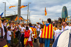 Diada de Catalunya, em Barcelona, Espanha o 11 de setembro de 2015 Imagem de Stock