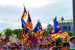 Diada de Catalunya, em Barcelona, Espanha o 11 de setembro de 2015 Fotografia de Stock