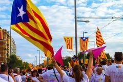 Diada de Catalunya, em Barcelona, Espanha o 11 de setembro de 2015 Fotos de Stock Royalty Free