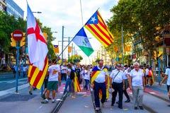 Diada de Catalunya, em Barcelona, Espanha o 11 de setembro de 2015 Imagem de Stock Royalty Free