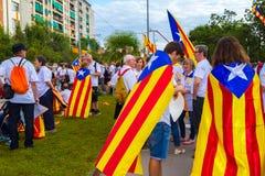 Diada de Catalunya, em Barcelona, Espanha o 11 de setembro de 2015 Imagens de Stock Royalty Free