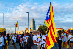 Diada de Catalunya, em Barcelona, Espanha o 11 de setembro de 2015 Foto de Stock Royalty Free